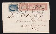 Us 26a Strip Of 3 And 24 Type Variety On Cover Cleveland To Ca Vf-xf Scv 1000++