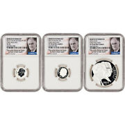 3-pc. 2015 Us March Of Dimes Commem Proof Silver Set - Ngc Pf70 - Early Releases