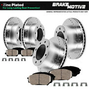 For Ford F350 4wd Awd 4x4 Front And Rear Drill Slot Brake Rotors And Ceramic Pads