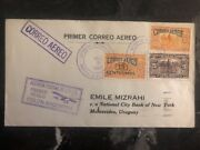 1929 Colon Panama First Flight Cover Ffc To National City Bank Uruguay