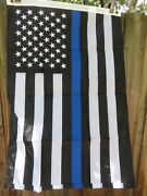 Embroidered 2x3 Law Enforcement Police Memorial Flag Usa Blue Line Black White
