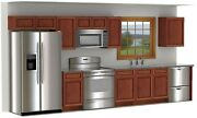Discounted Cabinet Set 14 Foot Run Free Shipping Sienna Finish W Rope Inlay
