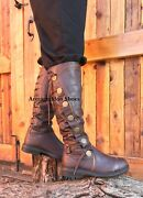 Brown Mens Steampunk Historical Period Serenity Airship Captain Costume Boots