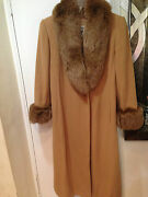 Marvin Richards Misses Womenand039s Winter Fox Fur Lambswool Long Coat Jacket Size8ml