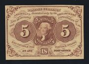 Us 5c Fractional Currency 1st Issue Imperf W/o Monogram Fr 1231 Ch Au