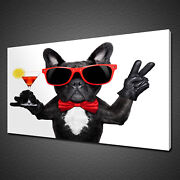 Funky Coctail Party Dog Red Glasses Martini Canvas Print Wall Art Picture Photo