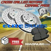 Front Cross Drilled Rotors And Ceramic Pads For 2011 Saab 9-3x W/f 314mm 5 Lugs