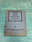 Dodge Job Rated Truck Preliminary Parts List Manual Book 618