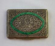 Engraved 800 Silver Cigarette Compact Case Inlaid Front Floral