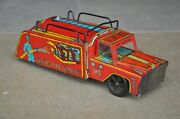 Vintage Wind Up 786 Indian Fire Service Mr Toys Litho Tin Toy , Collectible