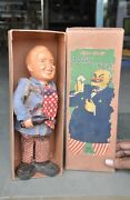 Vintage Wind Up Boxed Mt Trademark Celluloid And Wooden Jolly Uncle Toy , Japan