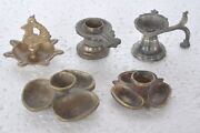 5 Pc Old Brass Different Shape Temple Oil Lamps , Nice Patina