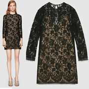 Sz 40 New 2400 Black Sheer Floral Lace Long Sleeves Dress W/ Nude Slip