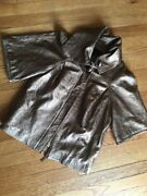 Sheri Bodell Funnel Neck Lamb Leather Jacket Sz Small Gold Copper