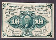 Us 10c Fractional Currency 1st Issue Imperf W/o Monogram Fr 1243 Ch Cu