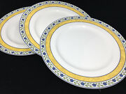 Wedgwood Mistral 3 Dinner Plates England Blue Flowers White Yellow 114022 Green