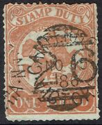 Victoria 1884 St George And Dragon 1 Pound Lithographed Postally Used Stamp Duty