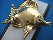 Vintage 18k Yellow Gold Butterfly Fish/diamond Eye Extra Large Brooch 16.2 Grams
