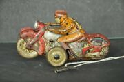 Vintage Wind Up Racer No.8 Acrobet Litho Motorcycle Tin Toy Japan