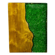 Green Resin Lucite And Teak Root Wood End Side Night Stand Table Rsnnsgrn-05