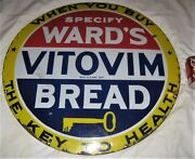 Antique 28 American Wards Key Vitamin Health Bread Country Porcelain Sign Usa