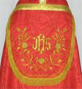 Red Cope Vestment Stole Gold Embroidery High Mass Benediction Lined Priest New