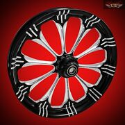 2000-2007 Harley Black Contrast 26 Inch Front Wheel And Floating Rotors Warlock