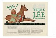 Vintage 1934 Tires By Lee Of Conshohocken Girl Great Dane Dog Ad Print B967