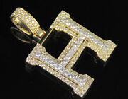 H Initial Custom Letter Diamond Pendant Charm In 10k Two Tone Gold 1.9 Ct 1.5
