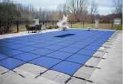 Loop Loc Ultra Loc Iii Blue Solid Swimming Pool Safety Covers W/ Drain And Step