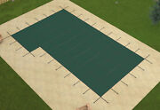 Loop Loc Green Mesh Rectangle Swimming Pool Safety Covers W/ Right Flush Step