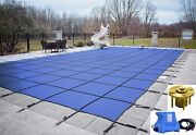 Gli Hyperlite Rectangle Solid Swimming Pool Safety Cover W/ Pump And Wood Anchors