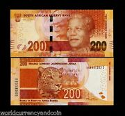 South Africa 200 Rand P-142 A 2014-2018 Noble Mandela Panther Tiger Unc Note