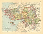 County Galway. Antique County Map. Connaught. Ireland. Bartholomew 1886