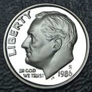 1986 S Usa - One Dime - Copper Nickel Clad Copper Proof - Roosevelt - Nice