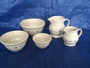 Longaberger 5 Pc 1990 Roseville Pottery 1st Collectible Mixing Bowls And Pitchers