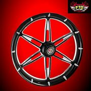 2008-2019 Harley Black Contrast 30 Front Wheel And Floating Rotors 6ix Shooter