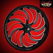 2000-2007 Harley Black Contrast 30 Inch Front Wheel And Floating Rotors Creeper