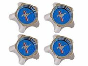 1967 Ford Mustang Styled Steel Wheels Center Caps Blue - Set Of 4