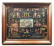 Vtg 1950 Engraved Painted Framed Leather Photo Album Cover Egyptian Art Colorful