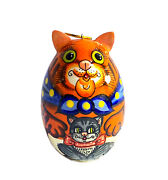 Russian Christmas Wooden Hand Painted Ornament Cat Holding A Kitten Gift Ears