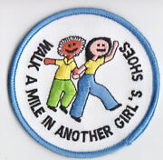 Cub Boy Girl Scout Fun Badge Patch Walk A Mile In Another Girland039s Shoes