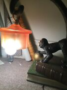 Table Lamp Vintage Style Metal Monkey Statue Umbrella Mica Shade Accent Light