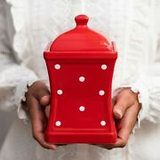 Handmade Red And White Polka Dot Ceramic Large Kitchen Canister Cookie Jar
