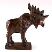 Unique Hand Carved Ironwood Moose Figurine Wood Carving 2.5 High Made In Usa