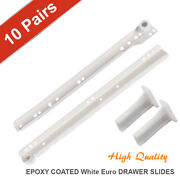 [pack Of 10 Pairs] 10-24 Epoxy Coated White Euro Drawer Slide Faceframe Cabinet