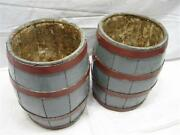 Pr Early Cooper Made Wooden Mini Banded Barrel Keg Paint Water Bucket Decor