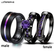 2 Rings Couple Rings Tungsten Carbide Menand039s Ring Amethyst Womenand039s Wedding Ring