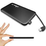 Ultra Thin 5000mah Power Bank Usb Battery Charger With Iphone And Type-c Adapter