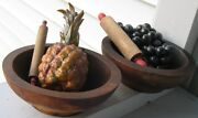 Antique/vintage 2 Wooden Footed Bowls, Herbs, Cereal,desserts And 2 Rolling Pins